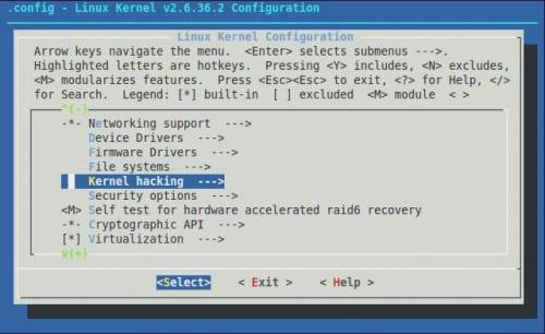 Linux Kernel Configuration - Kernel hacking