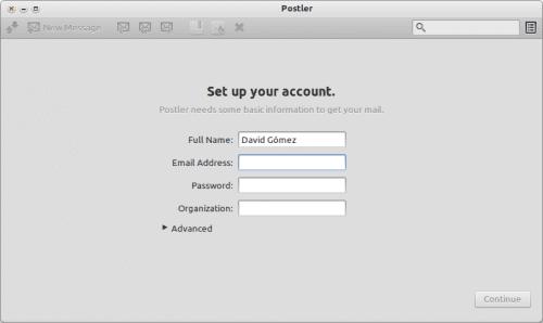 Postler - Configuración de una cuenta nueva
