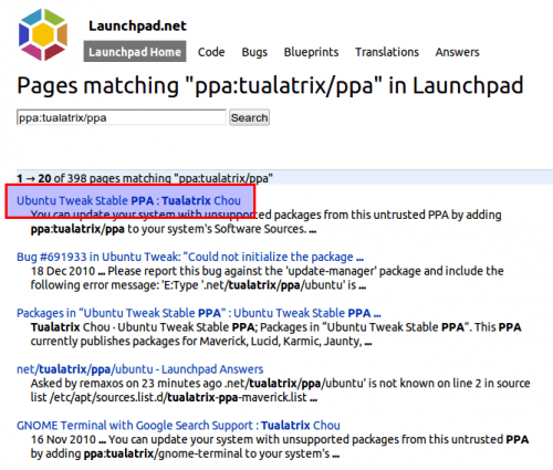 Launchpad search results