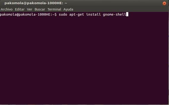 instalando gnome-shell