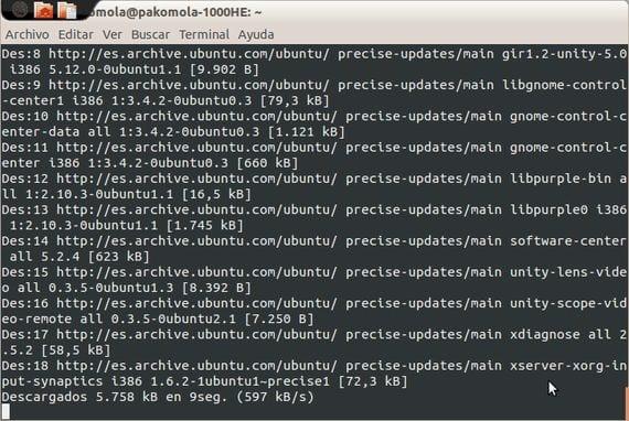 sudo apt-get upgrade trabajando