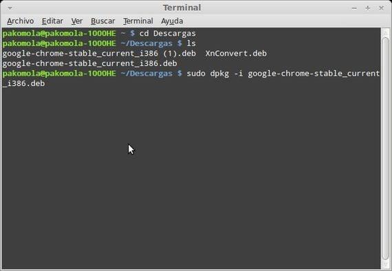 La terminal instalando Google Chrome