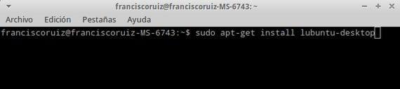 sudo apt-get install lubuntu-desktop