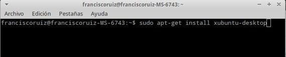 sudo apt-get install xubuntu-desktop
