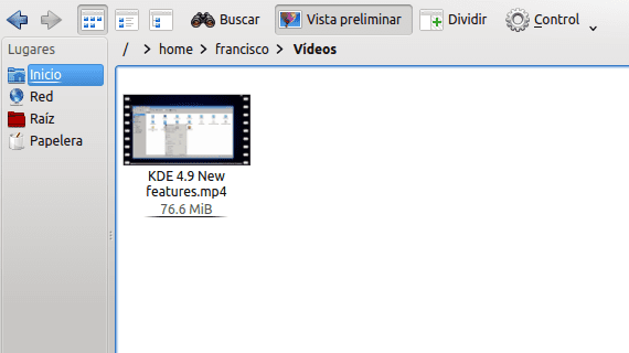 KDE Dolphin miniaturas vídeo