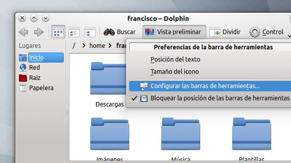 KDE barras de herramientas