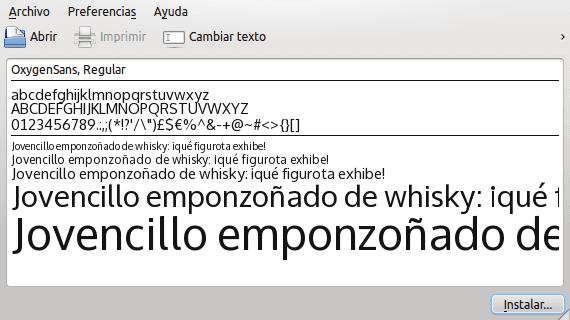 KDE fuentes tipos de letra