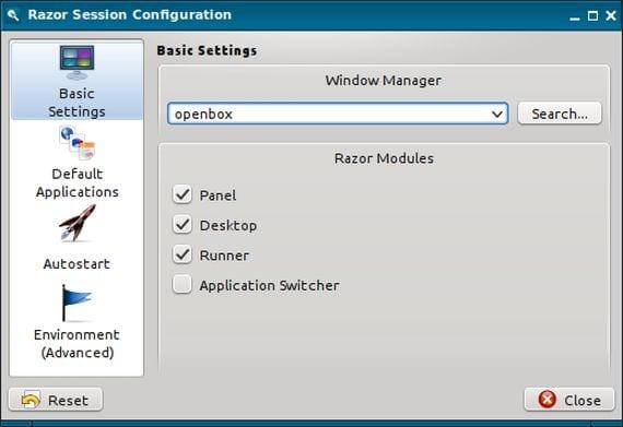 Aplicación de configuración de Razor-QT