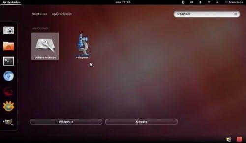 Utilidad de discos de Ubuntu en el Dash