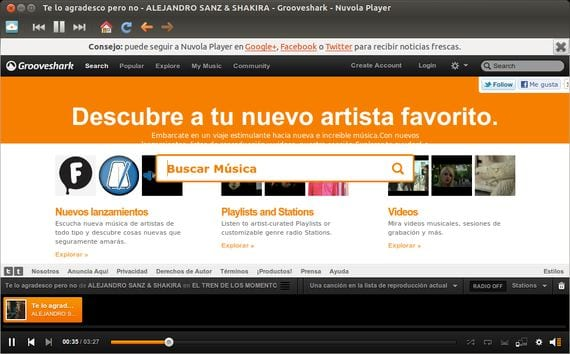 Nuvola Player el Spotify de Linux