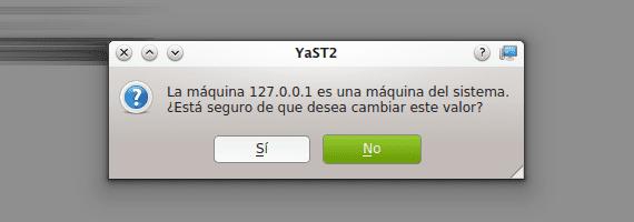 YaST openSUSE nombre de equipo