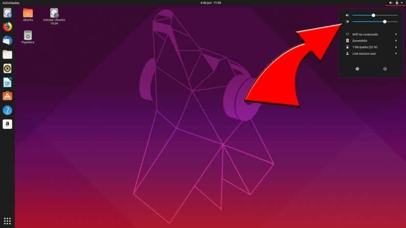 Aumentar o disminuir el brillo en Ubuntu 19.04