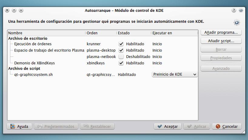KDE Autoarranque