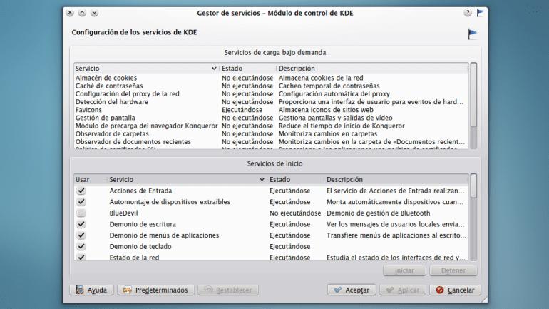 KDE Gestor de servicios