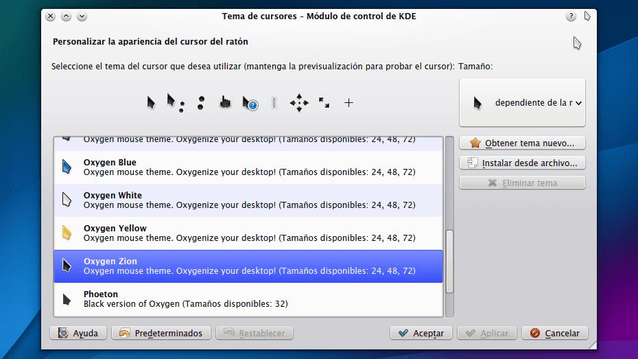 KDE Tema del cursor