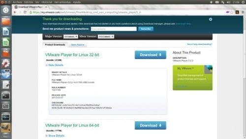 Vmware Player un software de virtualización para Ubuntu
