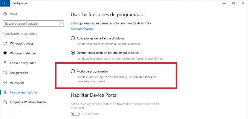 Modo programador de Windows 10