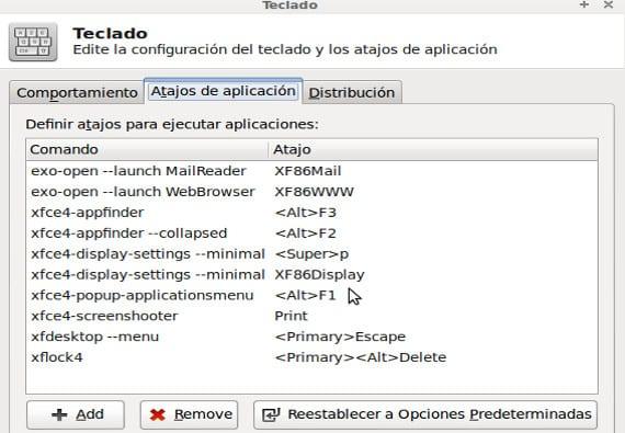 Atajos de teclado en el escritorio Xfce