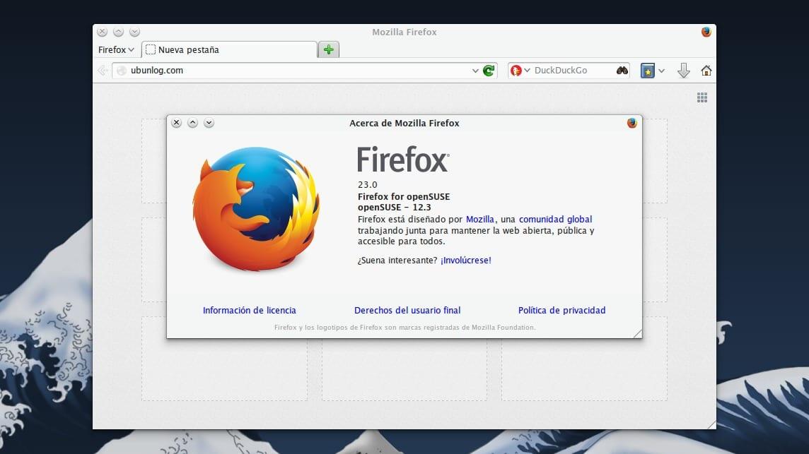 Firefox 23 en openSUSE 12.3