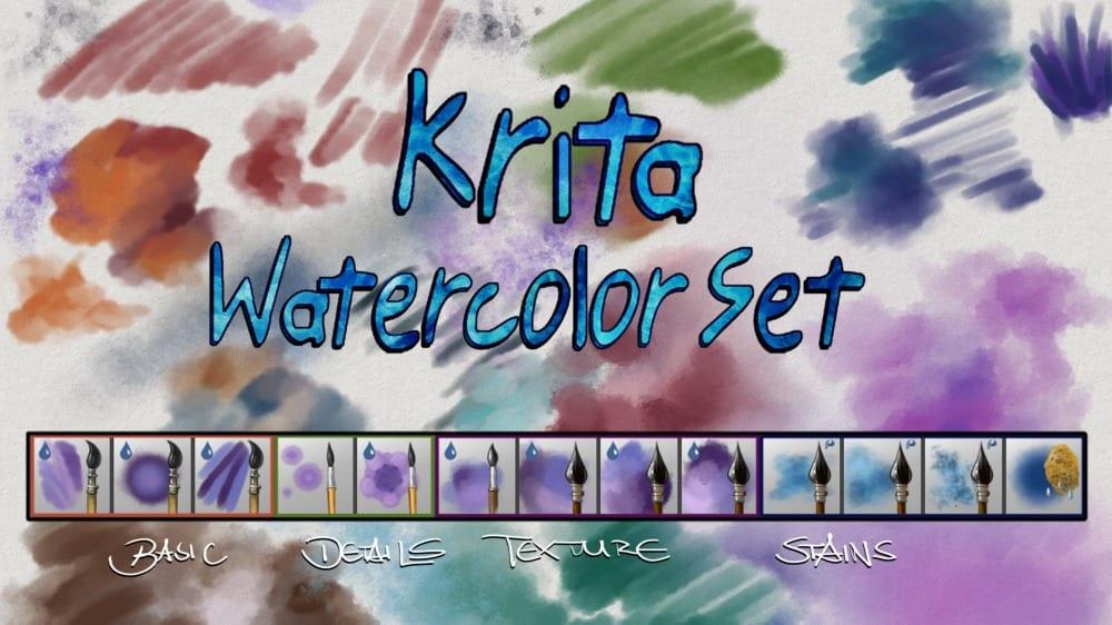 Pinceles de acuarela para Krita