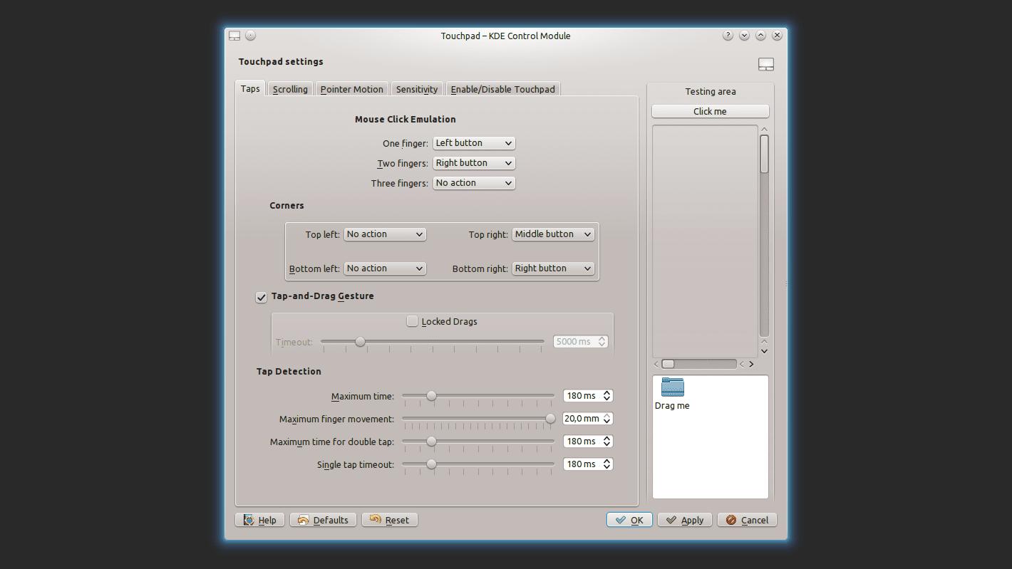 KDE, módulo de control del touchpad