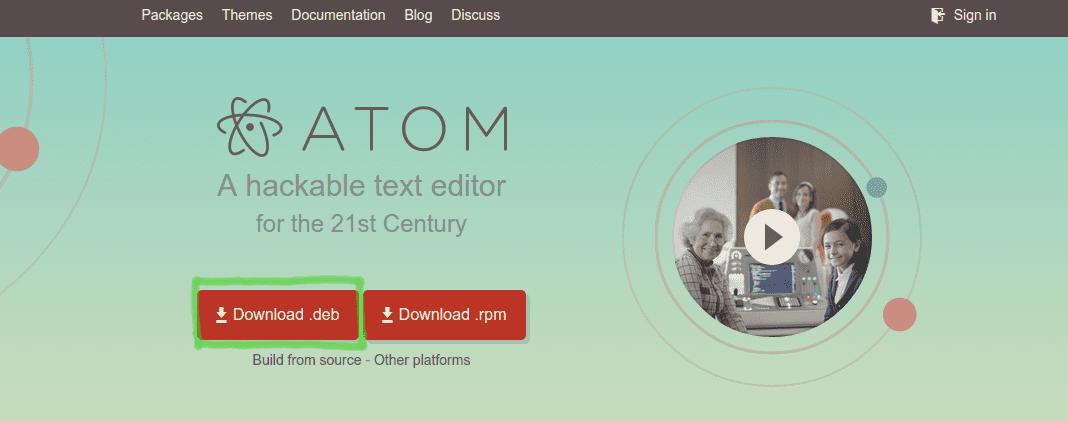 Captura del botón de descarga en la web.
