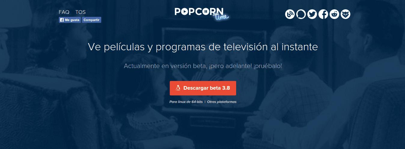 Captura de la web de Popcorn Time