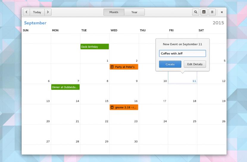 Screenshot de la aplicación Calendar, incluida en GNOME 3.18