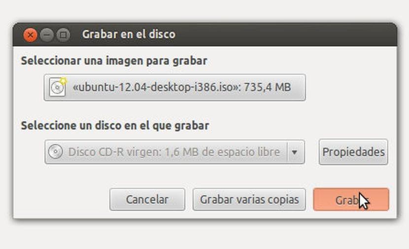 Grabar imagen en Ubuntu