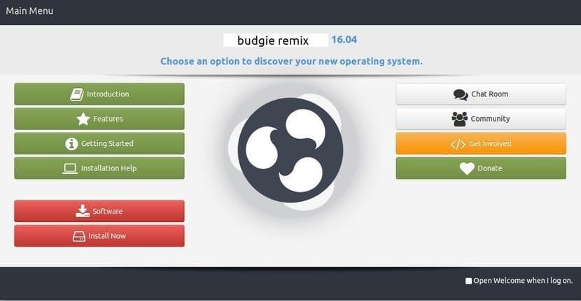 Pantalla de bienvenida de Ubuntu Budgie 16.10