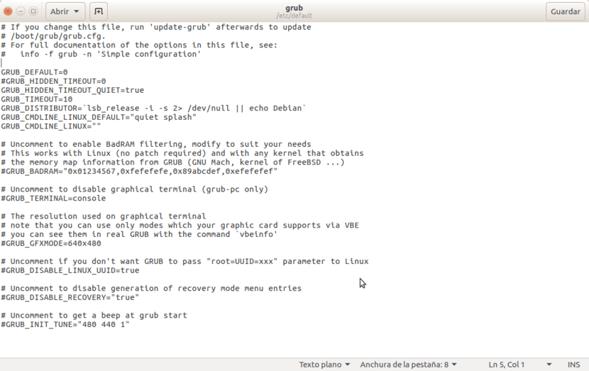 Editar opciones de Grub2