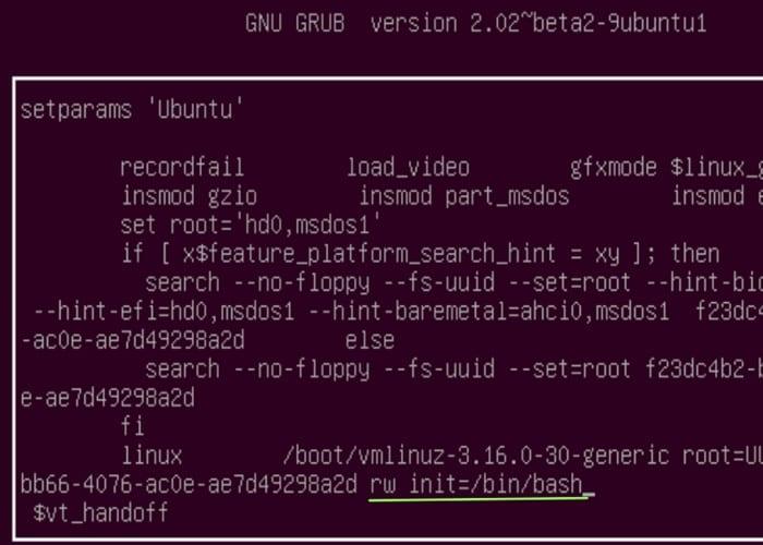 Comando para poder restablecer la contraseña de Ubuntu