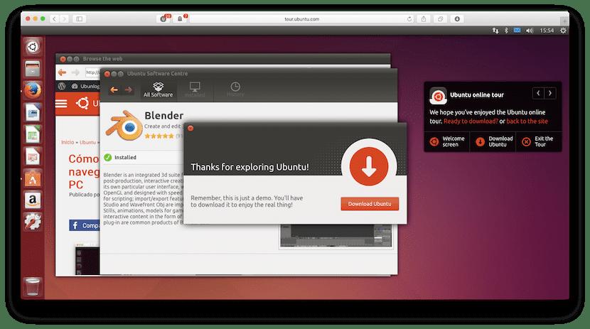 Centro de software en el simulador de Ubuntu