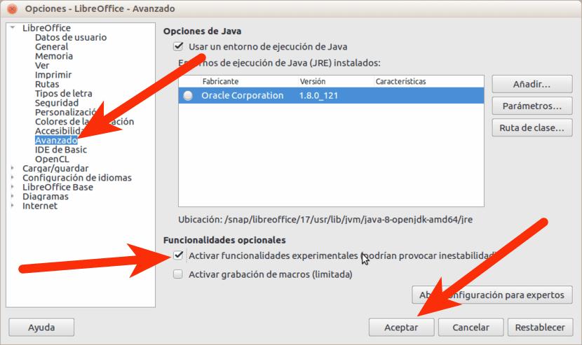 Activar funciones experimentales LibreOffice