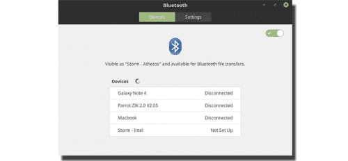 Nuevo panel bluetooth en Linux Mint 18.2