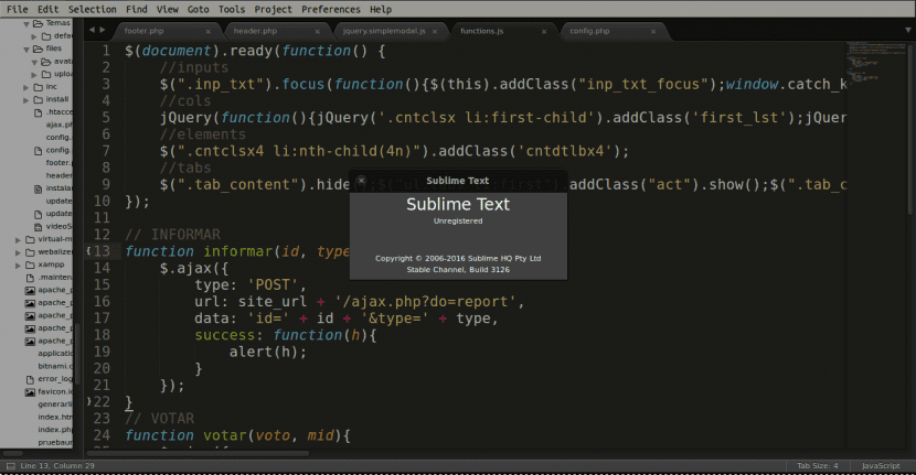 Pantallazo de Sublime Text 3