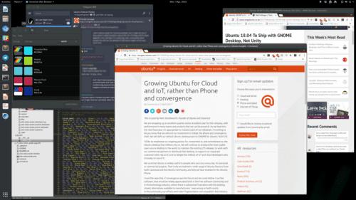 GNOME Shell con imagen Unity