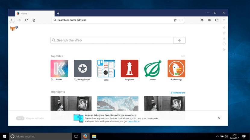 Próxima versión de Firefox