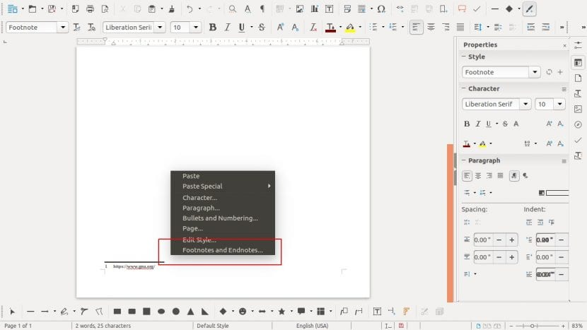 Notas al pie y al final del documento en LibreOffice 5.4