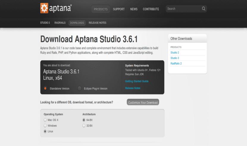 Página descarga Aptana Studio