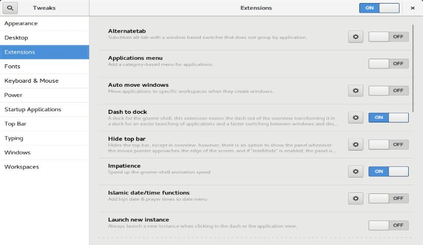 Nuevo diseño en la opcion de Extenciones de Gnome Shell