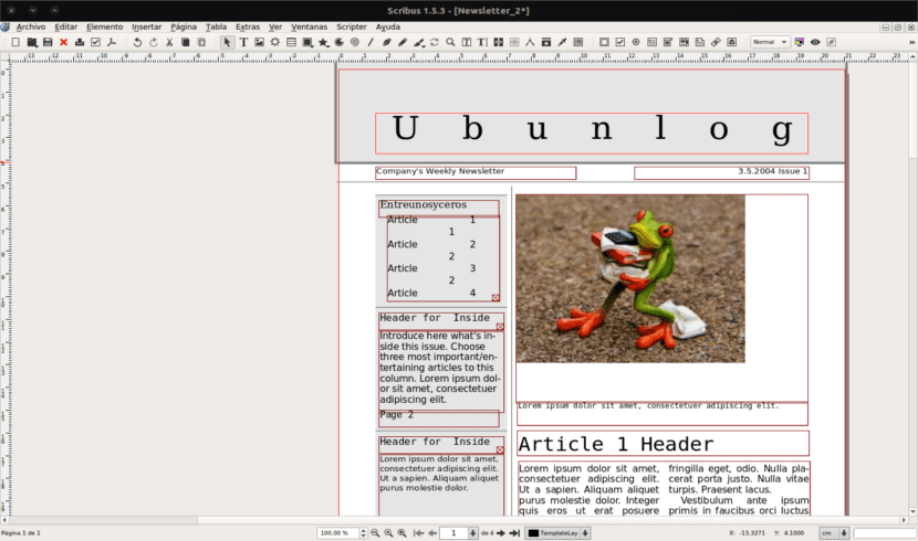 Plantilla newsletter Scribus 1.5.3