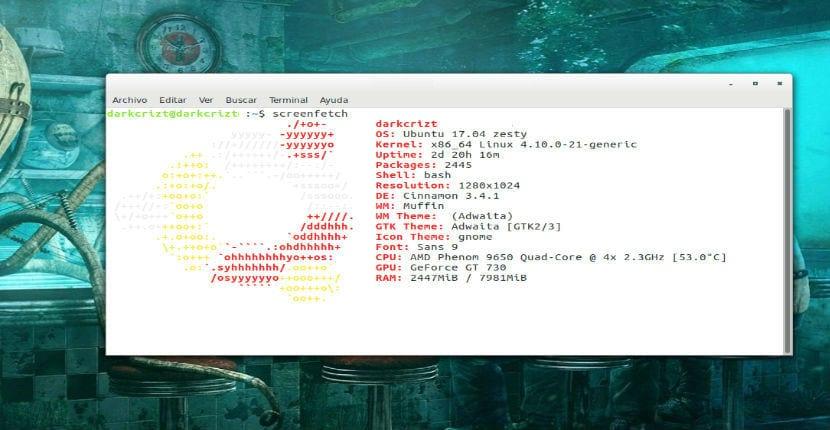 Información que muestra ScreenFetch