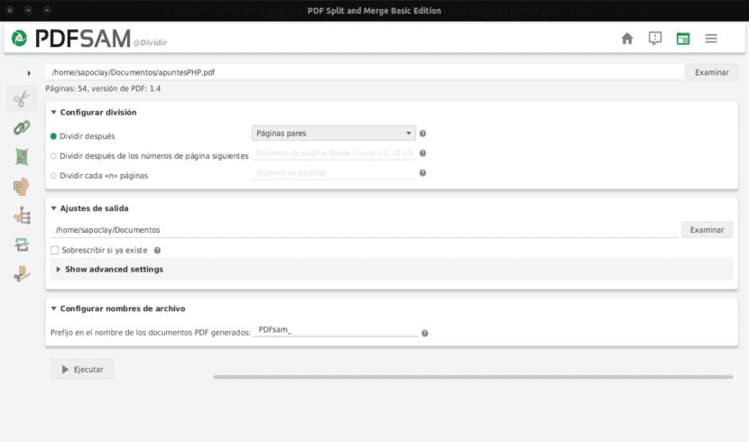 Dividir archivos PDF con PDFSAM