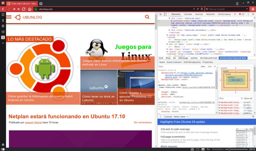 inspecionar elemento con el navegador Vivaldi 1.10