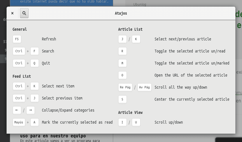 Atajos de teclado para feedreader