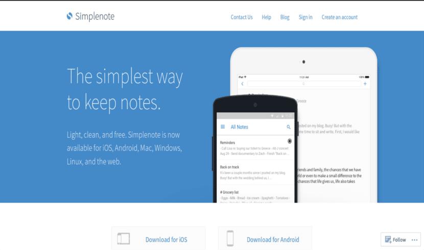 Web oficial de simplenote