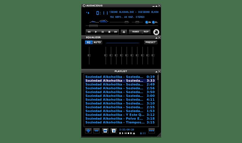 reproductor Audacious 3.9 reproduciendo música