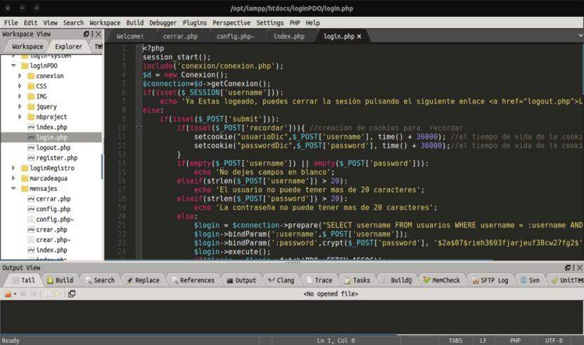 CodeLite pantalla desarrollo