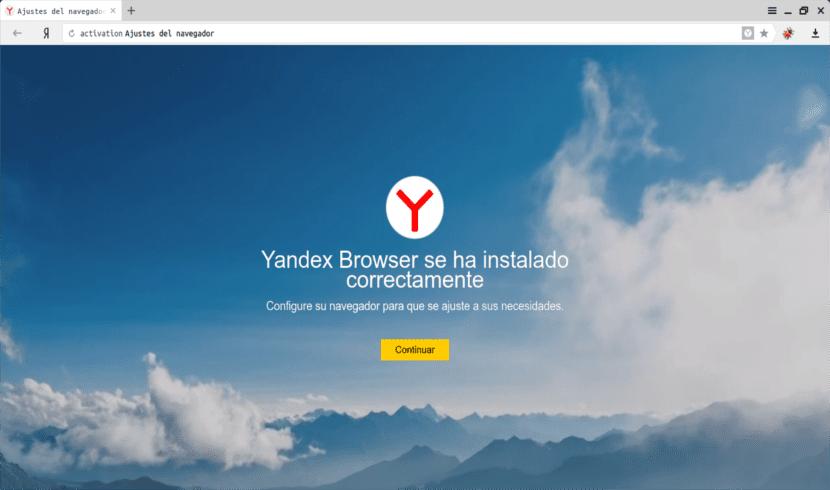 instalación Yandex Browser